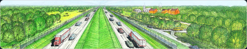 Architectural drawing of the future Interstate 73